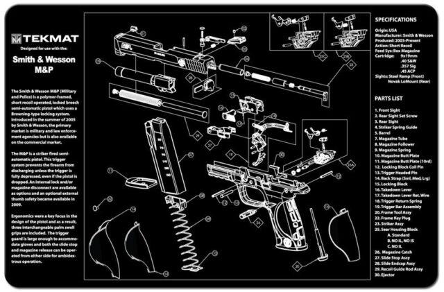 GUN CLEANING GUNSMITH/'S BENCH MAT by TEKMAT for HECKLER /& KOCH HK P30 9mm PISTOL