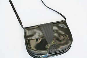 savingglory-BALLY-Patent-Leather-Cross-Body-Bag-Clutch-Round-Snakeskin-Bow