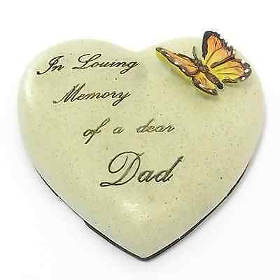 DAD 7cm POLYRESIN HEART, MEMORIAL, SELF ADHESIVE TRIBUTE PLAQUE FATHERS DAY