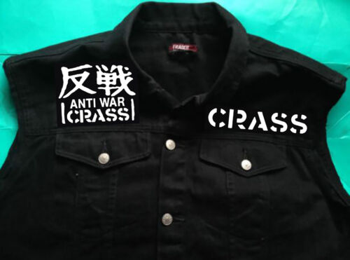 off delle 8 cut Crass 16 Giubbotto Not Fight War ragazze Giacca Punk denim nero in Wars qad086x67