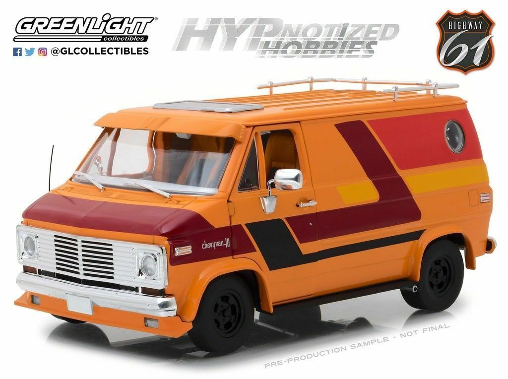 GRENljus HWY 61 1976 Chevrolet G-Series Van orange w Graphics DiecastNy Itew