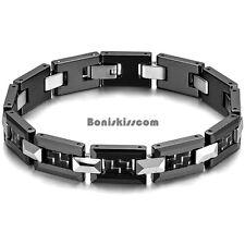 Black & Silver Tone Ceramic & Tungsten Carbide Greek Key Link Bracelet for Men