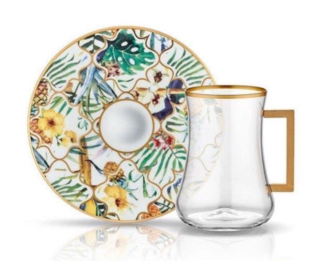Set da tè al servizio di design per 6 Amazon con motivo floreale unico elegante in scatola