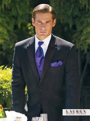52 R Chaps Ralph Lauren Black Tuxedo Coat Pant Vest Bow tie Complete Tuxedo