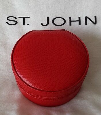 St. John Knits Red Faux Leather Travel Jewelry Purse Case Zip Box with Mirror