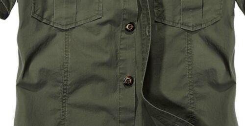 Mens Military Short Sleeve Casual Cotton Shirt Work Cargo Shirt Loose Shirt Tops
