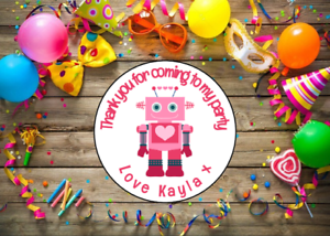 Cute-Pink-Girls-Robot-Personalised-Thank-You-Sticker-Party-Sweet-Cone-Birthday