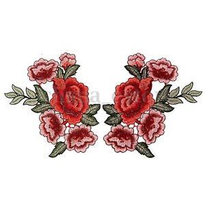 2-x-Embroidery-Rose-Flower-Sew-On-Patch-Badge-Hat-Jeans-Bag-Dress-Applique