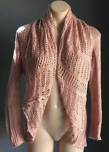 Gorgeous-Soft-CROSSROADS-Salmon-Pink-Open-Knit-Shrug-Cardigan-Size-XS-8