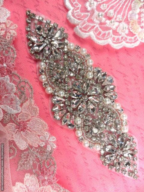 """XR250 Elegant Bridal Motif Silver Crystal Clear Rhinestone Applique Pearls 6"""""""