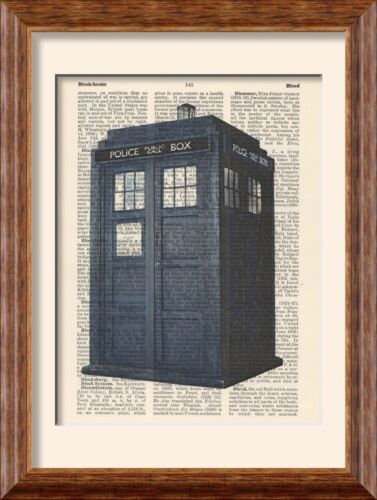 Vintage Art Print - Police Box - Dr Doctor Who Tardis - on Antique Book Page