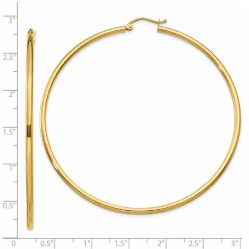 2 mm Classic Light Hoop Earrings in Genuine 14k Yellow Gold 14 to 76mm