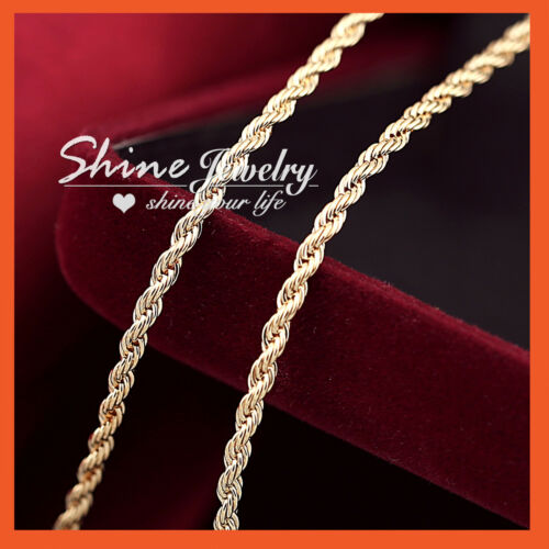 18K CHAMPAGNE GOLD GF MENS WOMENS 3MM TWIST ROPE SINGAPORE CHAIN NECKLACE 50CM