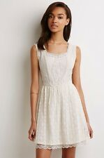 NWT New Forever 21 Embroidered Fit And Flare Dress Cream Sleeveless Small S