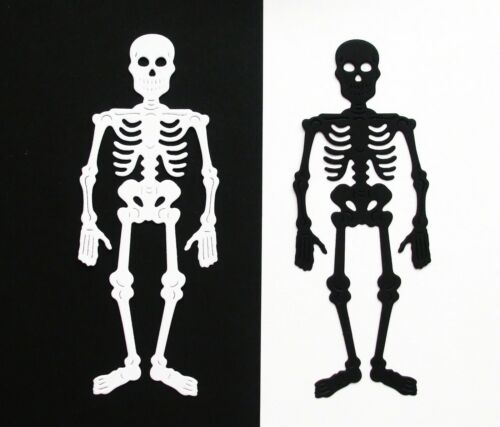 FAIRY JARS PACK OF 12 SILHOUETTE SKELETON DIE CUT CARD TOPPERS HALLOWEEN