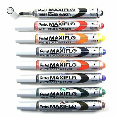 Pentel MWL5M Assorted Colors Medium Bullet Point Whiteboard Markers 8pcs