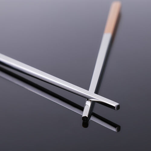 1 Pairs Stainless Steel Chopsticks Non-slip Square Metal Chinese Chopstick FM