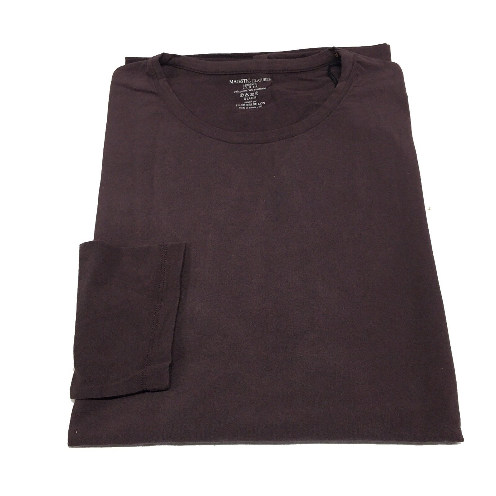 MAJESTIC HOMME t-shirt men's long sleeve burgundy MADE IN UE