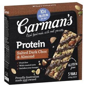 Carman's Salted Dark Choc & Almond Gourmet Protein Bars 5 pack 200g