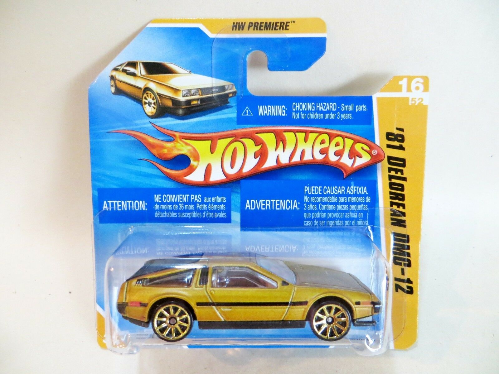 Hotwheels'81 DeLorean DMC-12' Dorado. Hw Premiere MIB Blister Blister Blister tarjeta Corta Cardada . cbe760