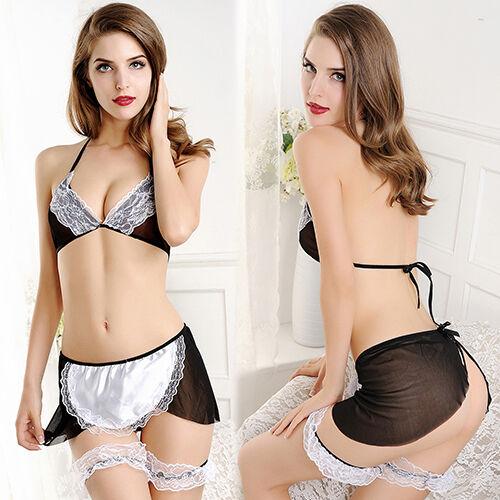 Women Sexy Maid Uniform Babydoll Cosplay Costume Lingerie Sleepwear G-String