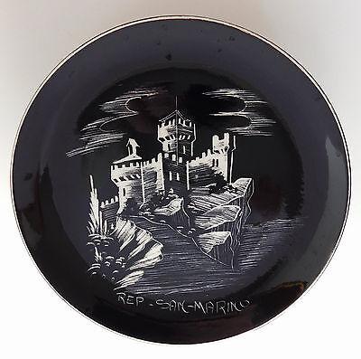 "Mount Titan ceramic plate San Marino towers vintage 1960s 1970s black white 6"""