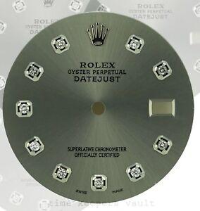 Custom-Grey-Genuine-Diamond-Dial-to-Fit-Rolex-Datejust-Quickset-36mm-Model