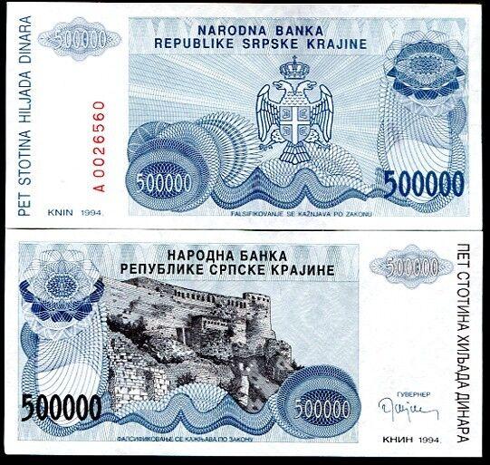 CROATIA 500,000 500000 DINARA 1994 P R32 UNC