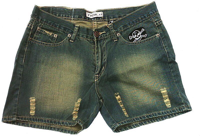 Abgenutzt Ticila SEVEN STAR Psychobilly Skull Patch Hot Pants Jeans Short W30 38