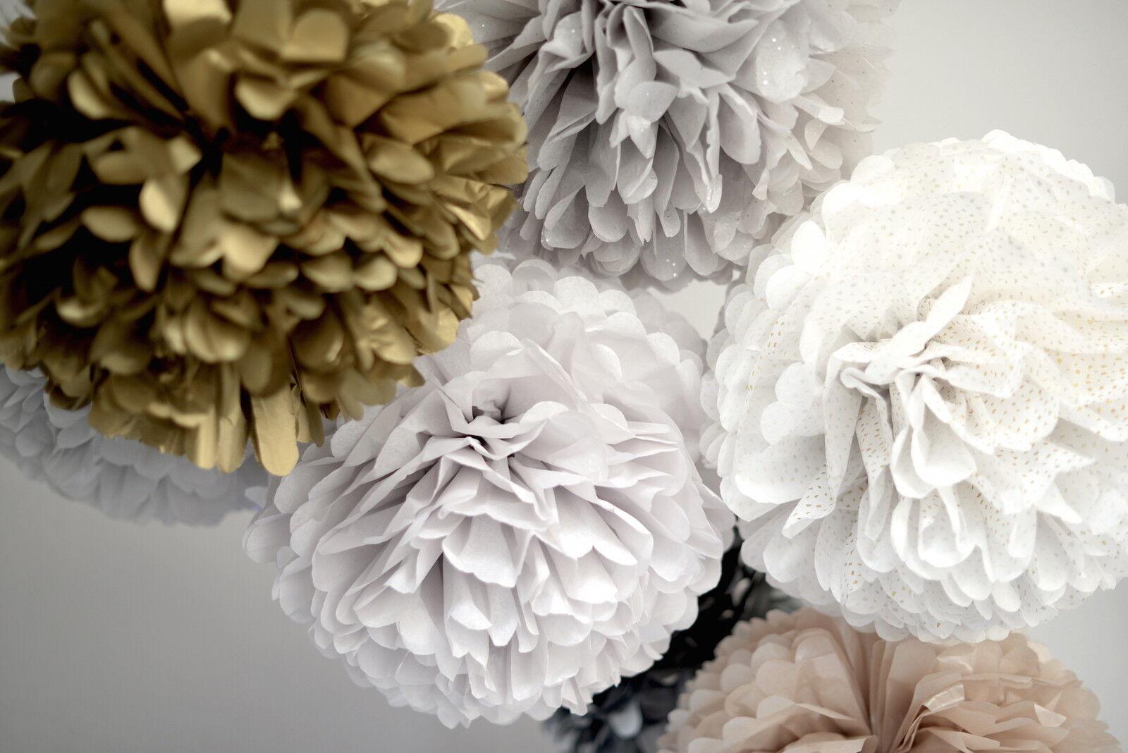 20 shimery tissue paper pom poms set - 3 Größes - wedding party decorations