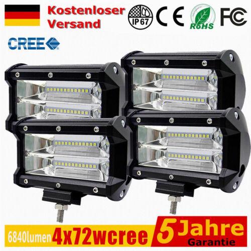 4x 72W LED Arbeitsscheinwerfer Offroad Scheinwerfer Flutlicht SUV LKW IP68 DE