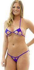 Lena Style Womens Extreme Micro Bikini G String Thong Tiny Swimsuit Purple Large
