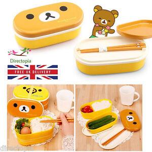 Niveau-2-Bear-amp-DUCK-Cute-LUNCH-BOX-Bento-Avec-Baguettes-Japon-Panier-Repas-Snack