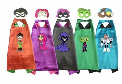 Robin Raven Beastboy Starfire Cyborg TEEN TITANS GO Costume Cape /& Mask Set