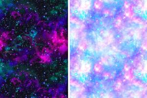 Azul Rosa Blanco Galaxy Cosmos Estrellas Universo Tela Spandex Lycra de impresión de 4 vías