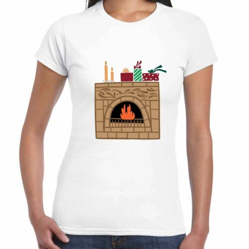 Ladies Christmas Fireplace T Shirt