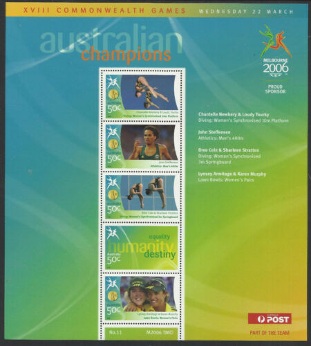 AUSTRALIA 2006 COMMONWEALTH GAMES GOLD MEDAL Souvenir Sheet No 11 MNH