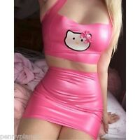 Latex Rubber Hello Kitty Pink Halterneck Top Skirt Dress Fetish Costume Cosplay