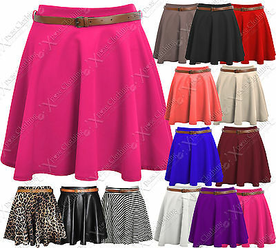 NEW LADIES SKATER SKIRT BELTED WOMENS MINI PARTY PLAIN FLARED SKIRTS WORK DRESS