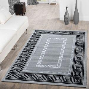 Teppich Wohnzimmer Mit Bordüre Abstrakt Ornament Muster Meliert Grau ...