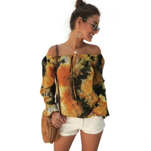 Ladies Women/'s Shirt Fashion Summer Blouse Long Sleeve T-Shirt Tops Loose Casual