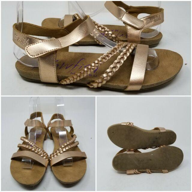 Blowfish Malibu Gold Woven Ankle Strap Slip On Sandal Slides Women's Size 7.5