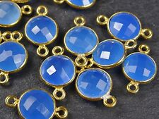 1 x 10mm ROUND FACETED BLUE ONYX / CHALCEDONY GOLD VERMEIL CONNECTOR
