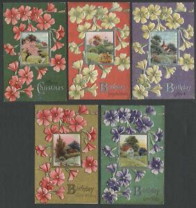 Lot-of-Five-c-1910-E-NASH-Floral-Greeting-Postcards