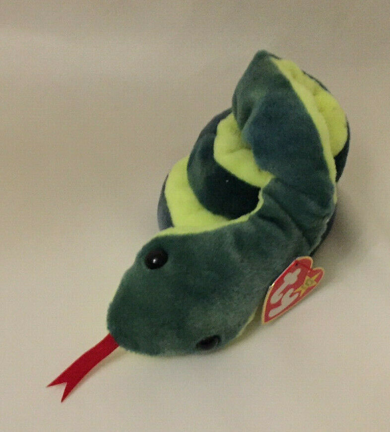 HISSY (SNAKE); BEANIE BABY; COILED WITH FORKED TONGUE; 1997; PE PELLETS; RETIRED