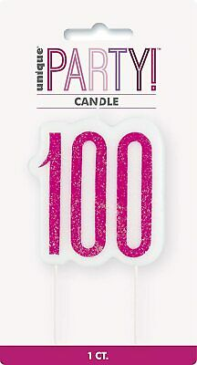 8cm Hot Pink Glitter Age 40 Candle Ladies 40th Birthday Party Cake Decoration