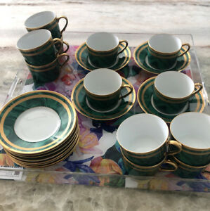 Christian-Dior-GAUDRON-MALACHITE-24k-Gold-GREEN-Cup-amp-Saucers-Set-Of-12-LOT