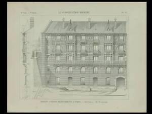 Paris, 27 Avenue Georges Mandel - 1898 - Planche Architecture - Emile Vaudremer Jouir D'Une RéPutation éLevéE Chez Soi Et à L'éTranger