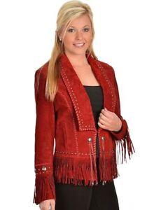 7d27b9783c9 Red Ladies Western Wear Women Suede Leather Jacket Fringed Girls ...
