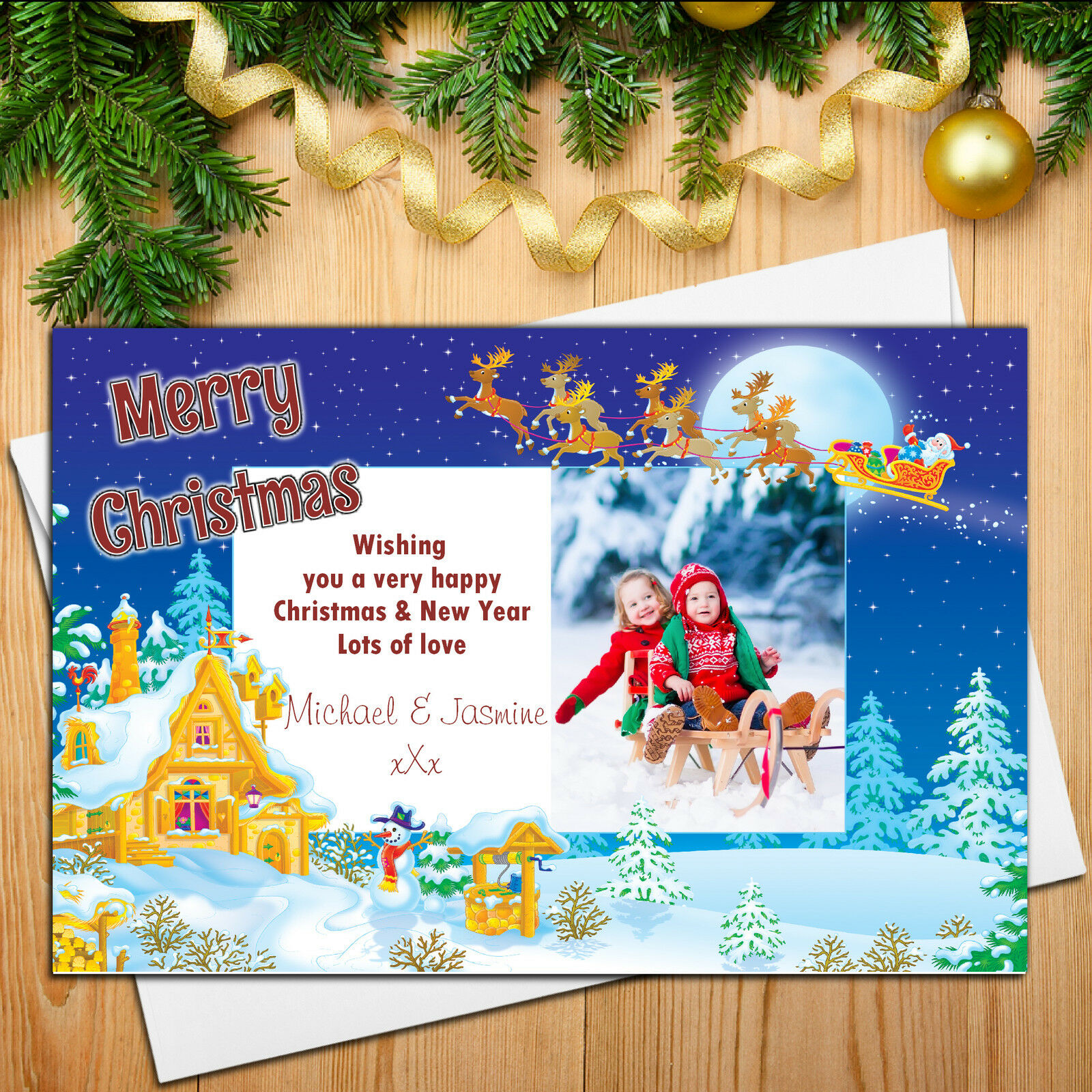 Personalised Reindeer Sleigh Happy Xmas Christmas PHOTO Post Cards N10